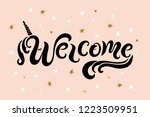 handwriting lettering welcome... | Shutterstock .eps vector #1223509951