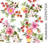 summer flowers  wild grasses ... | Shutterstock . vector #1223527114
