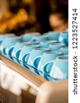 blue glass coffee cups staying... | Shutterstock . vector #1223527414