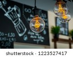 rustic lamps in the modern cafe | Shutterstock . vector #1223527417