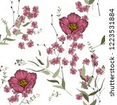 retro wild seamless flower... | Shutterstock .eps vector #1223531884