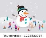 merry christmas card ... | Shutterstock .eps vector #1223533714