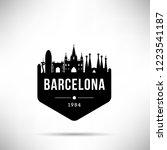 barcelona city modern skyline... | Shutterstock .eps vector #1223541187