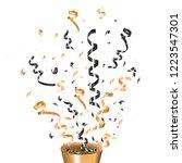 exploding gold party popper... | Shutterstock .eps vector #1223547301