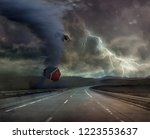 storm and bad weather on road   Shutterstock . vector #1223553637