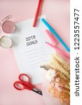 2019 goals flatlay on pink... | Shutterstock . vector #1223557477