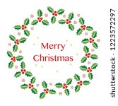 christmas wreath with holly on... | Shutterstock .eps vector #1223572297