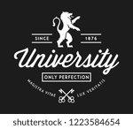 university of perfection white... | Shutterstock .eps vector #1223584654