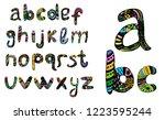 english multicolored alphabet ... | Shutterstock .eps vector #1223595244