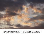 sunset in the evening sky with... | Shutterstock . vector #1223596207
