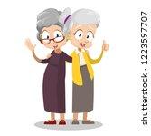 smiling embraced elderly women...   Shutterstock .eps vector #1223597707