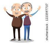 smiling embraced elderly men... | Shutterstock .eps vector #1223597737