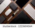 flat lay with different devices ... | Shutterstock . vector #1223604364