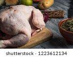 closeup of a rustic wooden... | Shutterstock . vector #1223612134