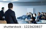 panel speaker on stage...   Shutterstock . vector #1223620837