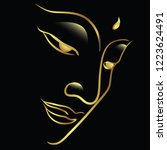 face's buddha with golden... | Shutterstock .eps vector #1223624491