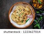 homemade butter naan  indian...   Shutterstock . vector #1223627014