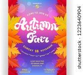 autumn fair poster design.... | Shutterstock .eps vector #1223640904