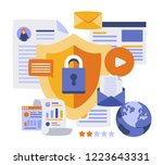 data protection concept.safety... | Shutterstock .eps vector #1223643331