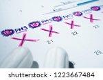 theme of monthly menstrual... | Shutterstock . vector #1223667484