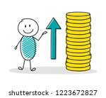 stickman showing rising coin... | Shutterstock .eps vector #1223672827