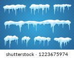 snow icicles set isolated on... | Shutterstock .eps vector #1223675974