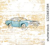 vintage car drawing on wooden... | Shutterstock .eps vector #1223681584