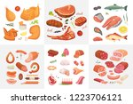 different kind of meat food... | Shutterstock . vector #1223706121