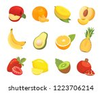 vegetarian food icons in... | Shutterstock . vector #1223706214