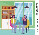 friends meeting cartoon | Shutterstock .eps vector #1223707771