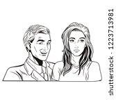 pop art couple cartoon | Shutterstock .eps vector #1223713981