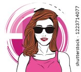 pop art woman cartoon | Shutterstock .eps vector #1223714077