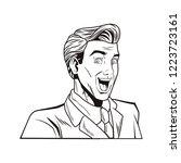 pop art businessman cartoon in... | Shutterstock .eps vector #1223723161