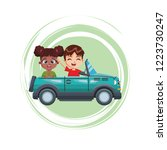 two smiling kids driving car... | Shutterstock .eps vector #1223730247