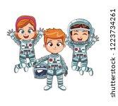 happy astronaut kids | Shutterstock .eps vector #1223734261