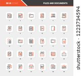 Stock vector vector set of files and documents flat line web icons each icon with adjustable strokes neatly 1223734594