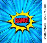 comic book page bright blue... | Shutterstock .eps vector #1223750101