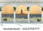 3d wallpaper design with... | Shutterstock . vector #1223755777