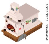 russian stove in the isometric..... | Shutterstock .eps vector #1223772271
