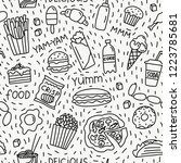 seamless pattern with fast food ... | Shutterstock .eps vector #1223785681