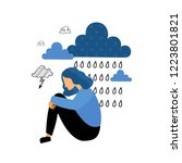 depression. sad unhappy young... | Shutterstock .eps vector #1223801821