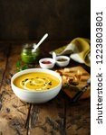 pumpkin soup with cream and... | Shutterstock . vector #1223803801
