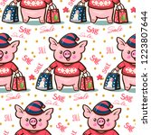 seamless pattern with cute... | Shutterstock .eps vector #1223807644