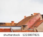 red tile roofs of a medieval... | Shutterstock . vector #1223807821