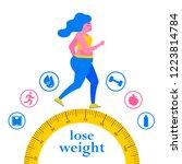 weight loss. women grows thin.... | Shutterstock .eps vector #1223814784