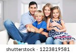 beautiful smiling lovely family ... | Shutterstock . vector #1223819581