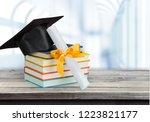 graduation mortarboard on top...   Shutterstock . vector #1223821177
