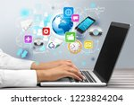 doctor working on laptop at... | Shutterstock . vector #1223824204