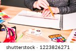 step by step. baker sketching a ... | Shutterstock . vector #1223826271