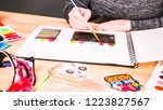 step by step. baker sketching a ... | Shutterstock . vector #1223827567